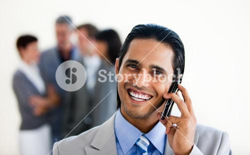 Focus on an assertive businessman on phone