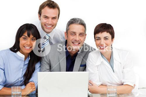 Business partners using a laptop