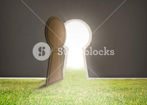 Doorway opening to bright light with grass