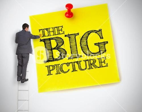 Businessman writing the big picture on a giant post it