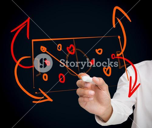 Man developing a tactical sport strategy