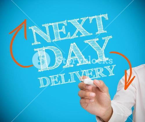 Businessman writing next day delivery