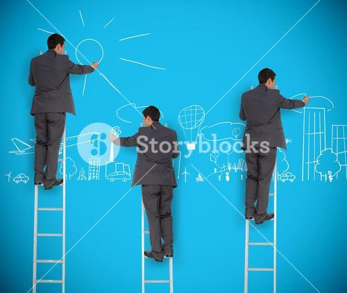 Multiple image of businessman drawing a city