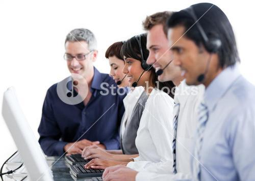 International business people using headset