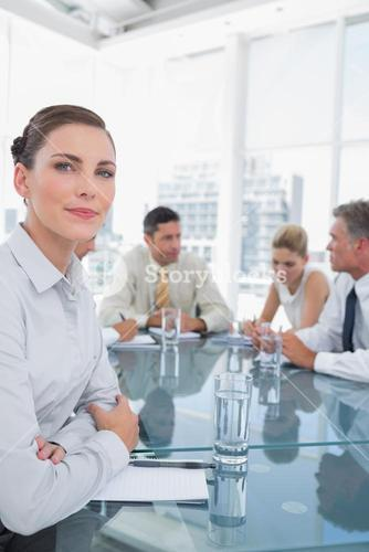 Serious businesswoman in a meeting