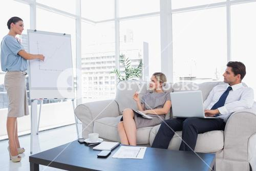Business woman presenting something on a whiteboard