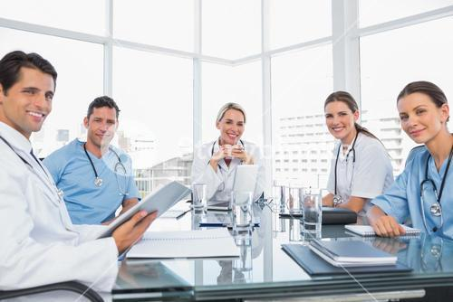 Smiling medical team during a meeting