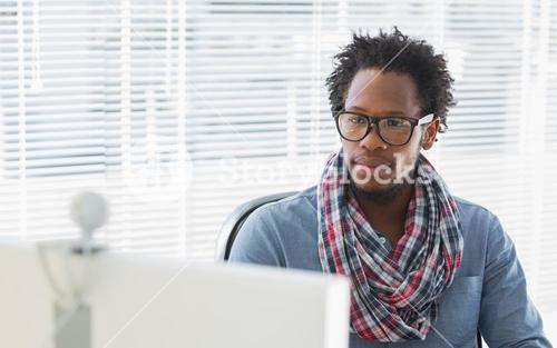 Creative business employee having a videocall