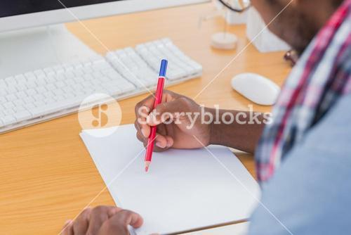 Creative business worker drawing something