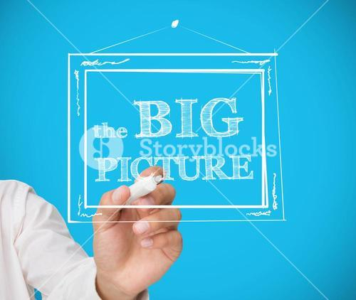 Businessman drawing frame with the big picture in it