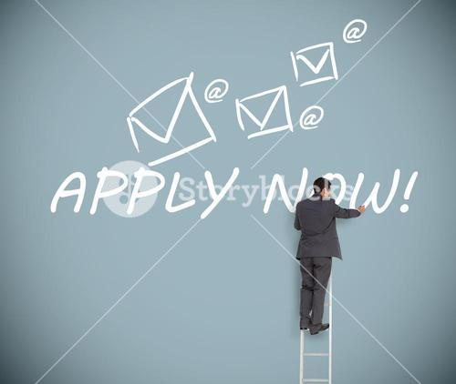Businessman on ladder writing apply now message