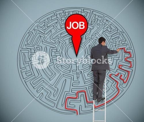 Businessman trying to find a job in a maze