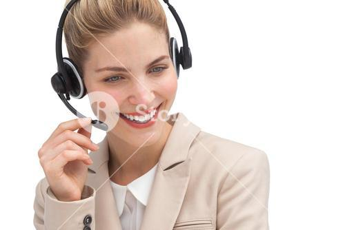 Cheerful call center agent