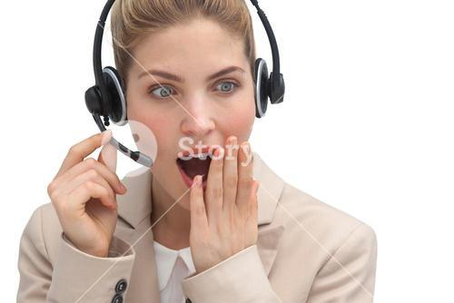 Astonished call center agent