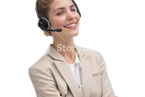 Customer service agent smiling at the camera