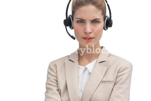 Frowning call center agent