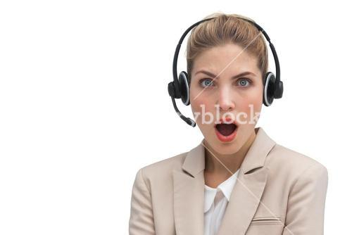 Surprised call center agent with mouth open