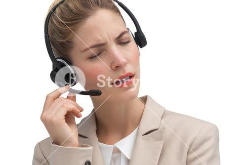 Call center agent helping someone
