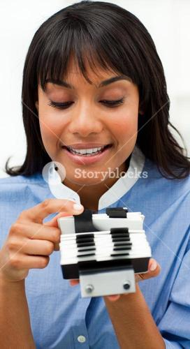 Businesswoman consulting a business card holder
