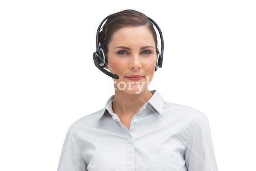 Stylish businesswoman with headset