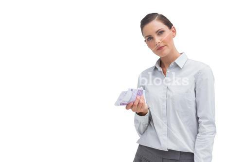 Businesswoman with money in her hand