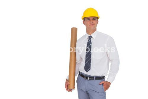 Happy architect holding a rolled up blueprint