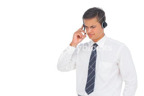 Call centre agent using headset