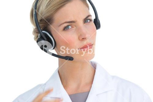 Nurse wearing headset