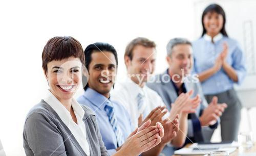 Business people clapping a good presentation