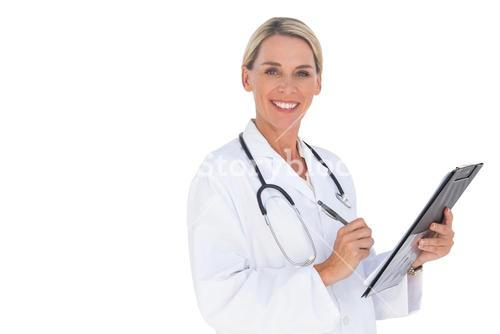 Happy doctor holding pen and clipboard