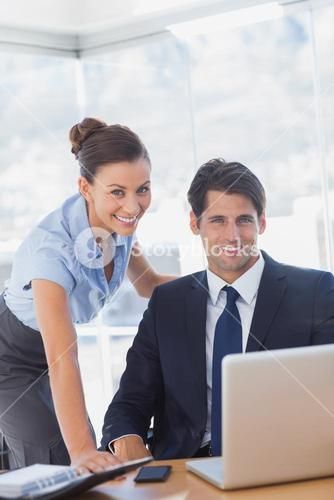 Business people smiling