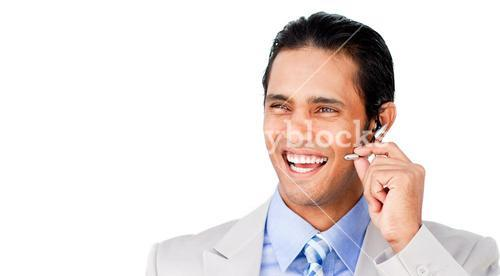 Confident customer service agent with headset on