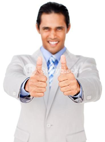 Portrait of an businessman with thumbs up