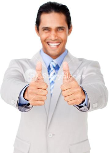 Businessman with thumbs up in celebration