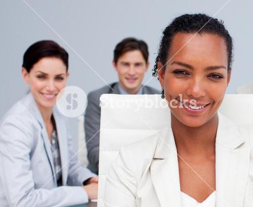 Portrait of a beautiful businesswoman in a meeting