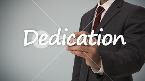 Businessman writing dedication