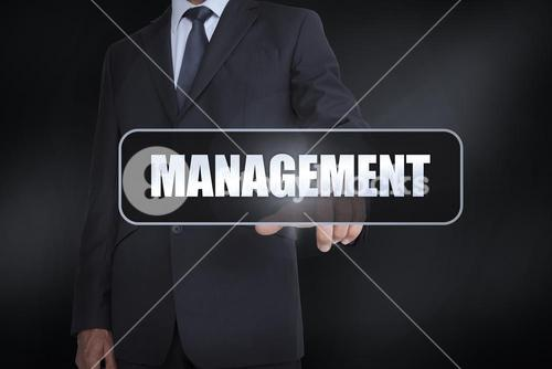 Businessman pressing the word management