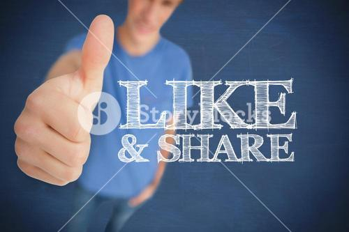 Man giving his thumb up next to like & share