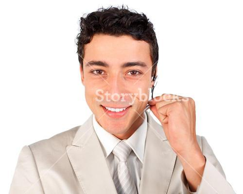 Young customer service representative using headset