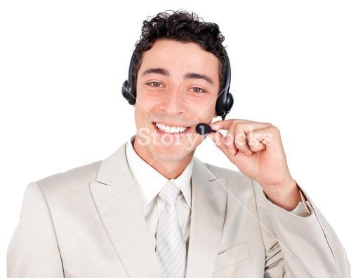 Charismatic businessman with headset on