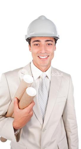 Young architect wearing a hardhat