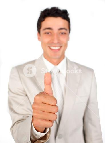 Successful businessman with thumb up