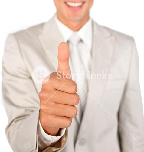Close up of a businessman with thumb up
