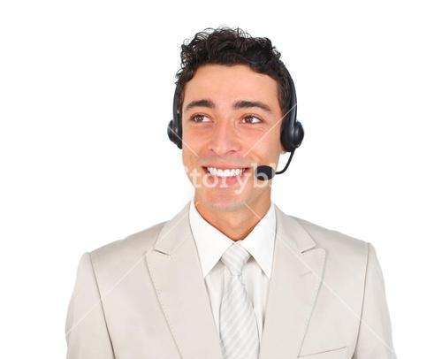 Positive customer service representative using headset