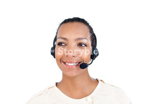 Assertive Customer service representative with headset on
