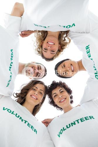 Low angle view of a smiling group of volunteers
