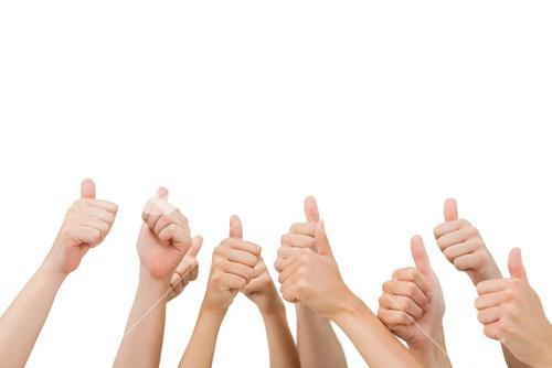 Group of hands giving thumbs up