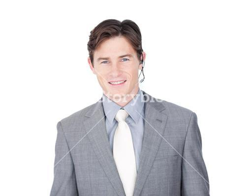 Assertive customer service agent with headset on