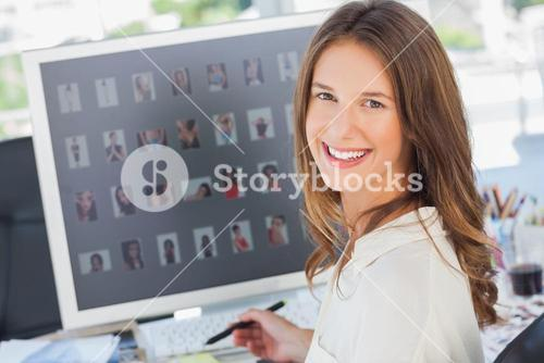 Portrait of a smiling photo editor
