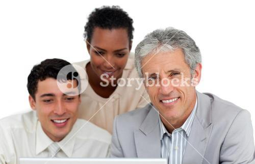 Business people working at a computer